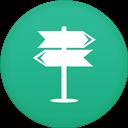 Icon mit einem richtungsschild als Symbol fuer die Navigation